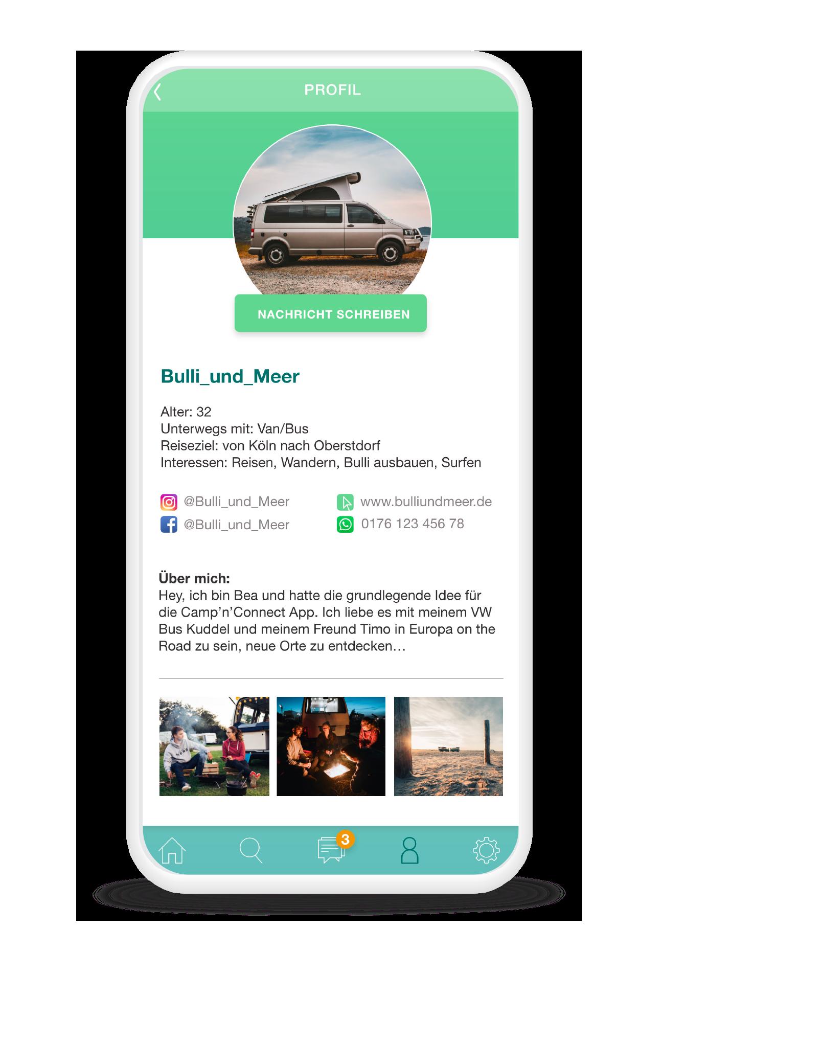 Profilansicht der Acmp'n'Connect App - Du bestimmst, was andere sehen